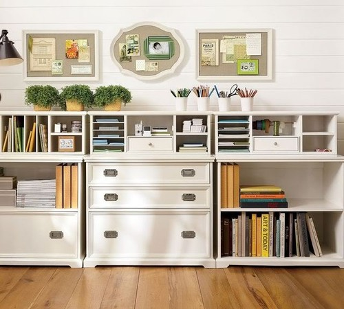 white cottage office organization traditional
