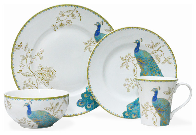 Peacock Garden White 16-Piece Dinnerware Set.