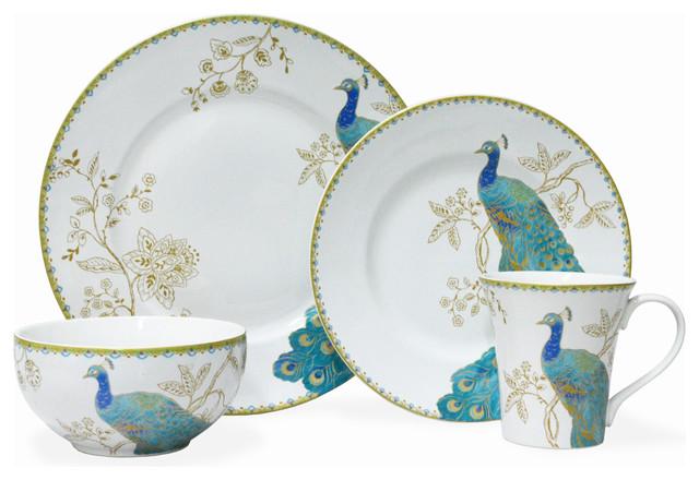 Peacock Garden White 16-Piece Dinnerware Set. -1