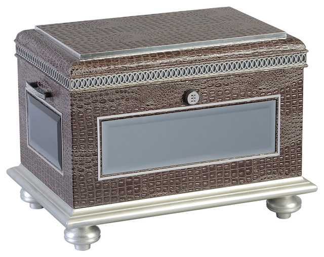 Glamourous Beveled Mirror Hope Chest With Crystal Accents