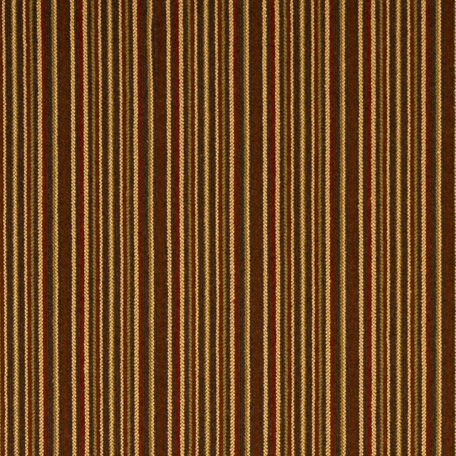 Red Green And Brown Thin Stripe Woven Upholstery Fabric