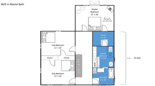 Upstairs floor plan master bath laundry closet for Laundry bathroom floor plans