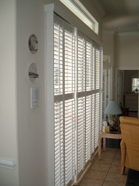 Plantation Shutters on a sliding glass door