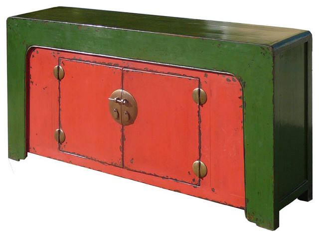 Chinese Antique Red Green Console Buffet Table Cabinet Modern Console Tables