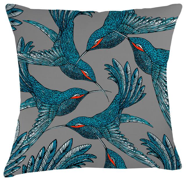 Paradise Velvet Cushion, Blue Birds