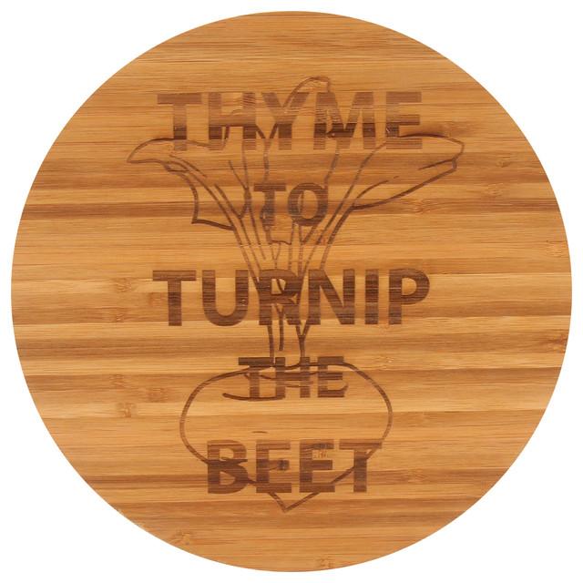 """""""thyme To Turnip The Beet"""" Bamboo Cutting Board."""