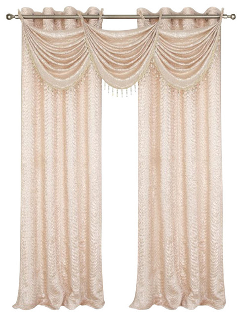 Madeline Crushed Satin Curtain Panels 53'' x 90'' - 2 Pack Beige ...