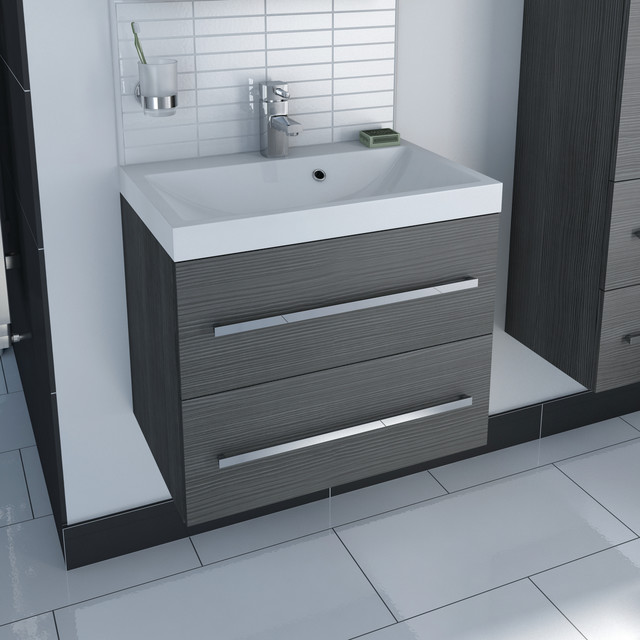 Drift Grey 2 Drawer Wall Hung Unit ampInset Basin