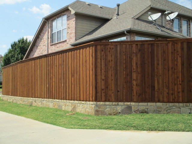 Cap Rail Board On Board Fence Stone Retaining Wall