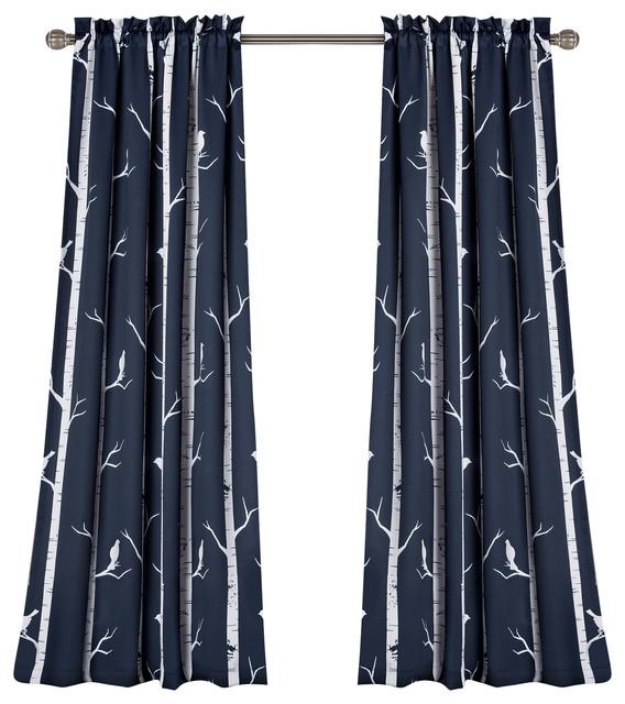 Bird On The Tree Room Darkening Window Curtain Navy Set 52x84+2