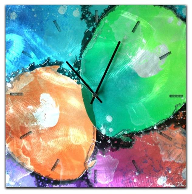 quantum clock abstract metal wall clock funky rainbow colors wallclocks