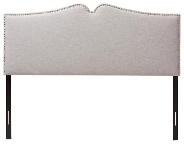 Gracie Grayish Beige Fabric Upholstered Full Size Headboard, Nail Heads Trim.
