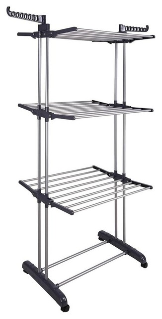 209aefb5214 3 Tier Clothes Drying Rack Foldable Laundry Hanger Compact Storage ...