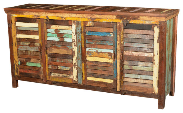 Rustic Reclaimed Wood Shutter Doors Buffet Storage