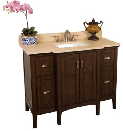 45 Single Sink Vanity Sable Walnut With Quartz Top Cream Transitional Bathroom Vanities