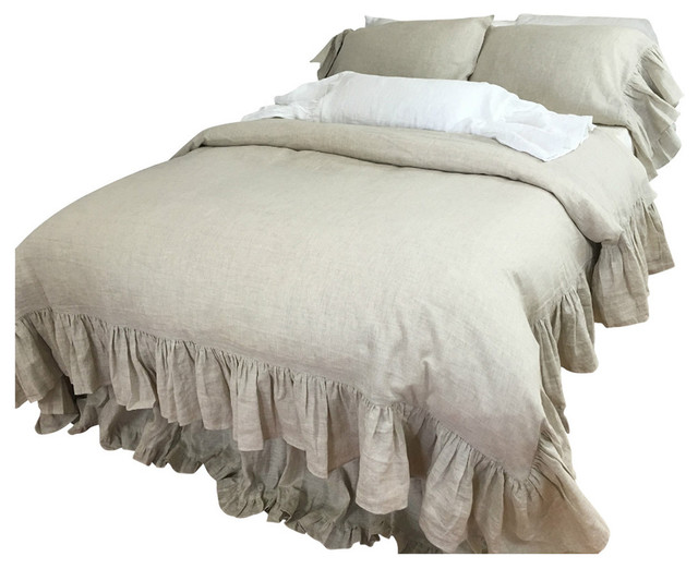 Natural Linen Duvet Cover Mermaid Ruffle Farmhouse Duvet Covers And Duve