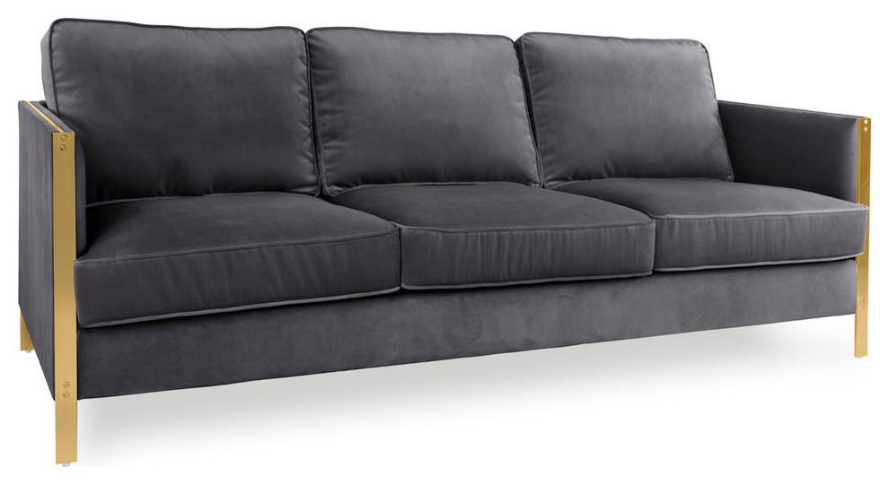 Firenze Collection Velvet Gray Sofa