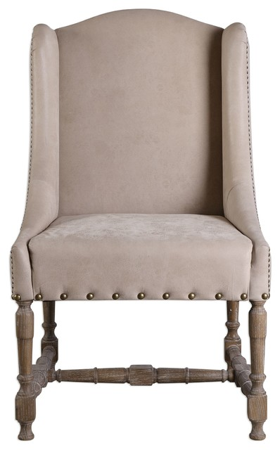 Uttermost 23326 Lyra Leather Accent Chair  Traditional