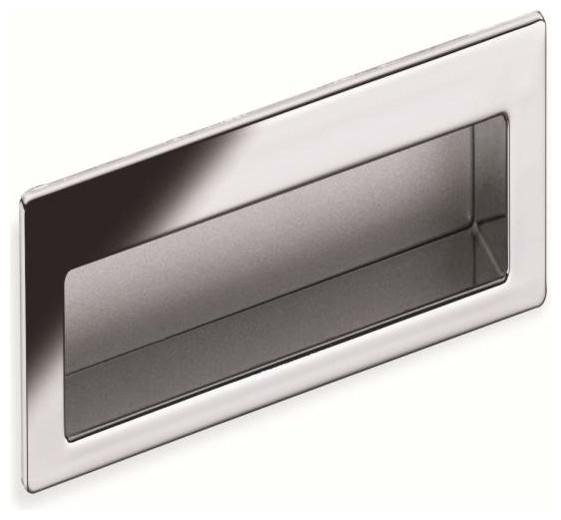 Schwinn Hardware Modern Flush Pull, 4 Inch Polished Chrome