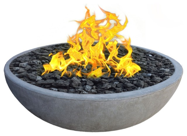 Concrete Fire Pit Bowl With Natural Gas 6-Piece Set, 48
