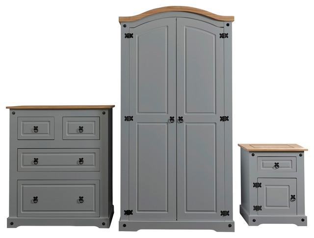 corona 3piece bedroom set grey and pine