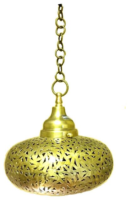 Moroccan Hanging Pendant Lantern, Brass