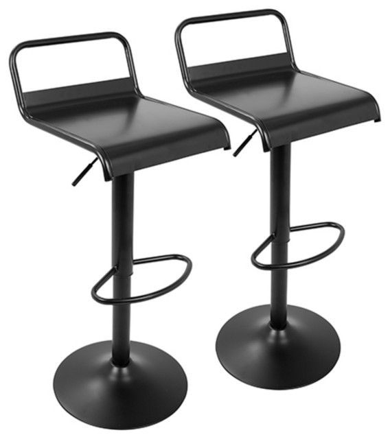 Lumisource Emery Industrial Adjustable Barstool with Swivel in Black - Set of 2