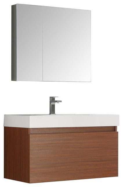 Fresca Mezzo 36 Teak Wall Hung Modern Bathroom Vanity, Medicine Cabinet.