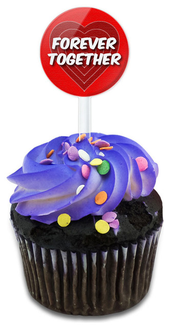 Forever Together Love With Red Hearts Cupcake Toppers Picks Set.