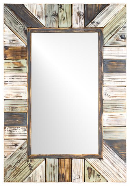 Rustic Wood Plank Rectangular Framed, Wood Rustic Mirror