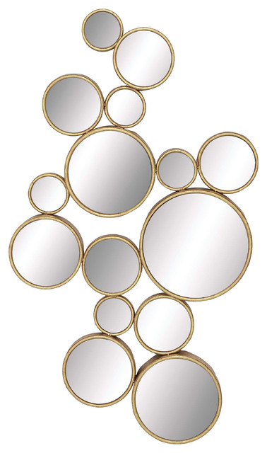 Cosmoliving By Cosmopolitan Gold, Gold Circles Mirror Wall Decoration