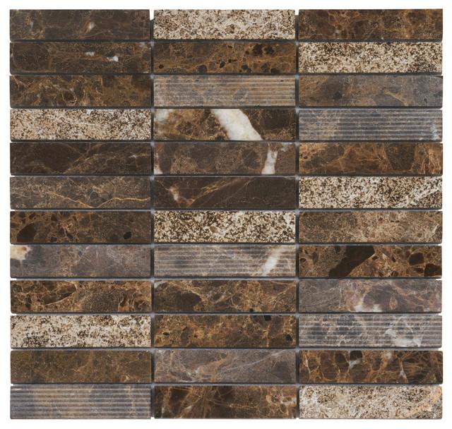 Emperador Brown Marble Mosaic Tile Texture Wall Backsplash 12 X12