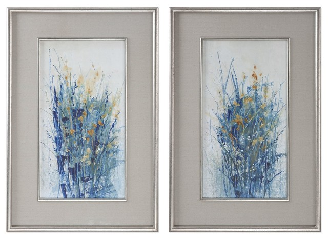 Blue Floral Stems Wall Art Yellow Flower Framed Painting Print 2 Piece Set Contemporary Prints And Posters By My Swanky Home