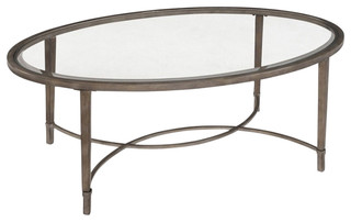 Home Furnishings Copia Brushed Metal Oval Cocktail Table
