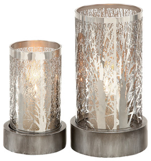 "Metal Candle Holders, 2-Piece Set, 11"", 8"" contemporary-candleholders"