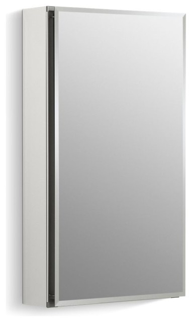 "Kohler Aluminum Single-Door Cabinet Door, Beveled Edges, 15""x26""."