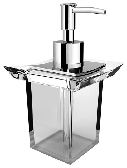 Lux Firenze Free Standing Acrylic Pump Soap/Lotion Dispenser, Brass    Contemporary   Soap U0026 Lotion Dispensers   By AGM Home Store