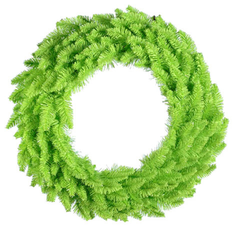 """Pre-Lit Lime Green Ashley Spruce Christmas Wreath, Clear & Green Lights, 36""""."""