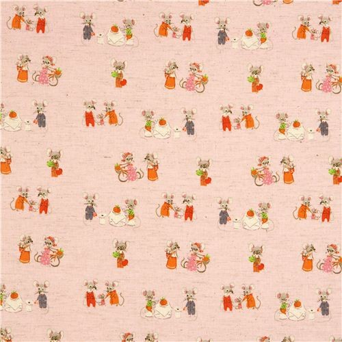 pink Kokka fabric with mouse family by Heather Ross