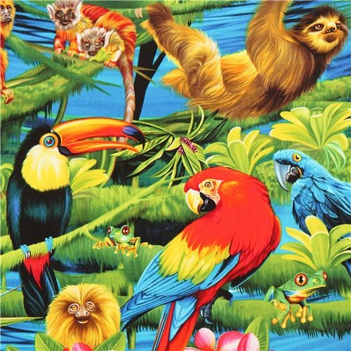 Colourful Rainforest Animal Fabric Parrot Timeless