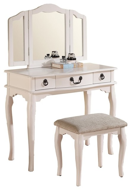 Tri Folding Mirror Vanity Set Makeup Table Dresser With Stool 3 Drawers Whit