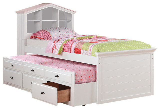 Twin Bed With Trundle Drawers And House Headboard White.