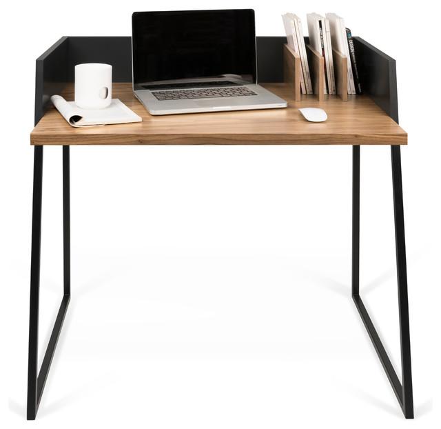 Beautiful Black Table Desk Part - 10: Volga Desk, Walnut/Pure Black Contemporary-desks-and-hutches