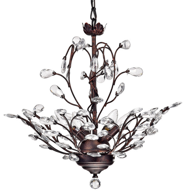 4-Light Vine And Crystal Chandelier Ceiling Fixture, Antique Copper.