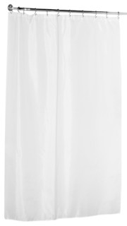 """Fabric 84"""" Extra Long Shower Curtain, White"""