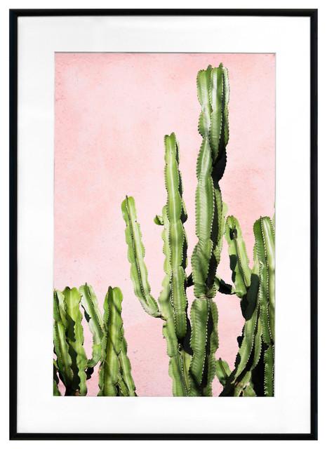 """Plants on Pink – Cactus"" Framed Art Print, 28""x20"""