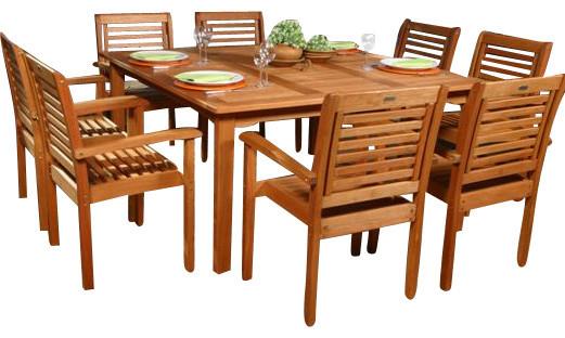 Milano Eucalyptus 9-Piece Square Patio Dining Set.