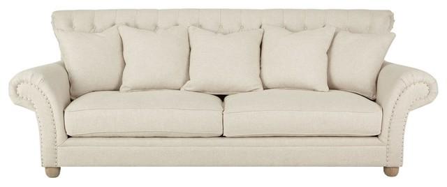 Dorothy Ivory Tufted Back Sofa, Tufted Back Sofa