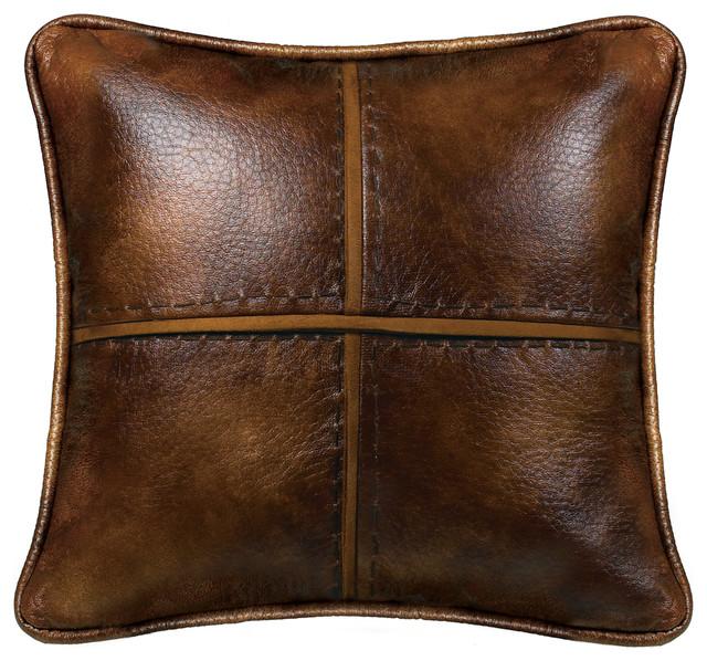 Cross Stitched Pillow Features Faux Leather With Hand Stitched Details., 18x18.