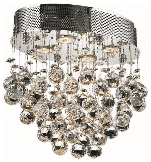 "Elegant Lighting Galaxy 12"" 4-Light Royal Crystal Flush Mount."